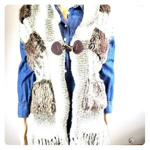 💙Cynthia Rowley Knit &Faux Fur Vest with Fringe